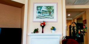 Fireplace mantle with roses